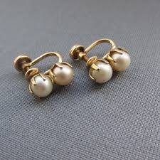 vintage earrings vintage pearl and gold finish earrings