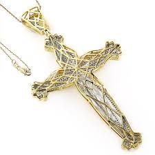 jesus cross gold necklace images Luxurman 10k gold men 39 s 1 5 8ct tdw diamond jesus cross necklace jpg