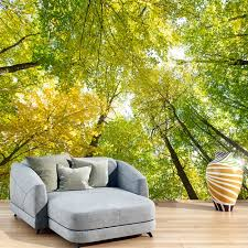 green wallpaper home decor trees wall mural sunlight forest wallpaper living room photo home decor