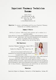 Sample Resume Objectives Pharmacy Technician by Objective For Pharmacy Tech Resume Free Resume Example And