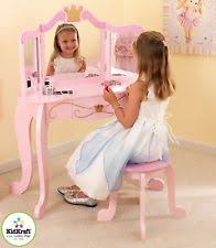 kidkraft girls pink kids princess vanity mirror stool makeup table