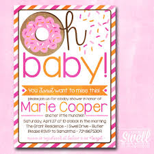 baby shower brunch invitations donut invitation doughnut breakfast brunch girl pink orange baby
