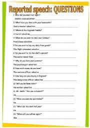 english teaching worksheets reported speech questions