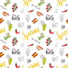 Spanish Flag Fish Spain Seamless Pattern Doodle Elements Hand Drawn Sketch Spanish