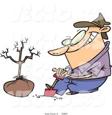 vector of a cartoon guy digging a hole with a shovel beside a new