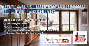 Patio Door Sales Andersen Windows Patio Doors Sale S Lumber