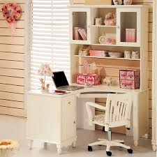 Children Corner Desk White Computer Desks With Shelf Solid Wood Comuer Table Student