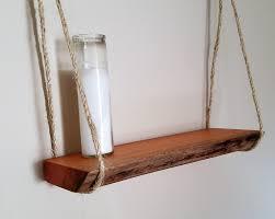 natural wood shelf live edge shelf hanging shelf mahogany
