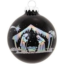 holographic nativity silhouette sparkle glass ornament