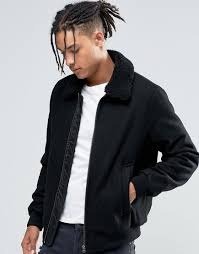 Wool Bomber Jacket Mens Asos Wool Mix Bomber Jacket With Borg Collar In Black In Black For