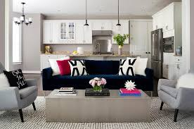 Black Accent Chairs For Living Room Blue Velvet Sofa With Black And White Pillows Contemporary