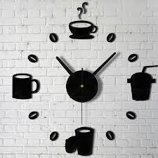 aliexpress com buy coffee cups kitchen wall art mirror clock