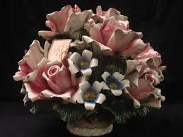 capodimonte roses large capodimonte roses in basket made in italy porcelain signed
