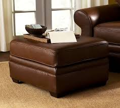 Brown Leather Ottoman Pearce Leather Ottoman Pottery Barn