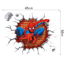 Kids Bedroom Rock Wall Spider Man Wall Stickers Cartoon Movie Character Decorative Wall