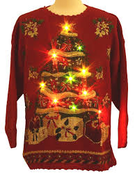ugly christmas sweater with lights lightup ugly christmas sweater tiara international unisex red
