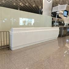 White Reception Desk Long Straight Fancy White Reception Desk Artificial Stone Office