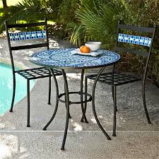 Mosaic Patio Furniture Home Jumbo Country Decor Outdoor 3 Piece Aqua Blue Mosaic