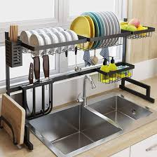 how high cabinet above sink luexbox length 32 inch the sink dish drying rack stainless steel dish rack for kitchen storage kitchen sink organizer kitchen shelves rack