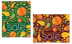 thanksgiving harvest sale poster template design