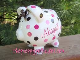 monogrammed piggy bank personalized polka dot piggy bank 5 inch size