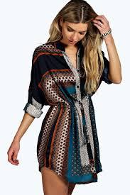boohoo clothes blair paisley shirt dress boohoo