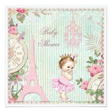 paris princess in tutu shabby chic baby shower invitations