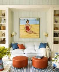 beach themed living room ideas with garden stool and vintage