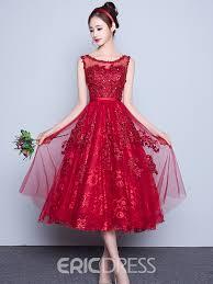 ericdress scoop neck lace sequins tea length cocktail dress