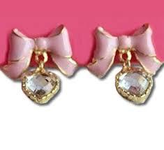 bow earrings betsey johnson pink bow earrings1 jpg