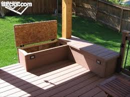 Free Woodworking Plans Outdoor Storage Bench by Building Built In Deck Benches Nice Storage Area Bench