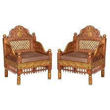ra 3 2 pcs classic chair set copper polished art asia imports