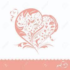 Weeding Invitation Card Abstract Pink Flower Heart Shape Wedding Invitation Card Royalty