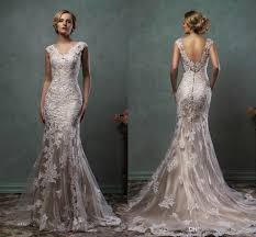 silver wedding dresses 2016 amelia sposa wedding dresses vintage v neck lace overlay