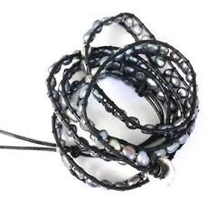pearl bracelet ebay images Pearl leather wrap bracelet ebay JPG