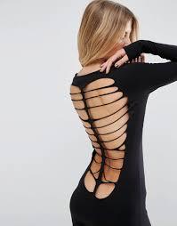 asos halloween skeleton cut out back mini dress in black lyst