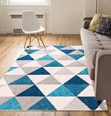 3 X 5 Area Rug by Isometry Blue U0026 Grey Modern Geometric Triangle Pattern 3 U00273