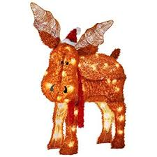 Giraffe Christmas Light Decoration by Amazon Com Gemmy Fuzzyplus Moose Outdoor Christmas Decoration