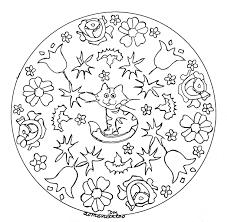 mandala domandalas little cat and flowers mandalas coloring
