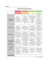rubric for character analysis character analysis graphic