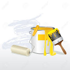 illustration of paint bucket with paint brush and roller royalty