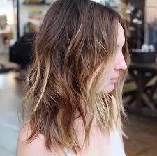 textured shoulder length hair kissed balayage choppy bob hairstyle for medium shoulder length hair
