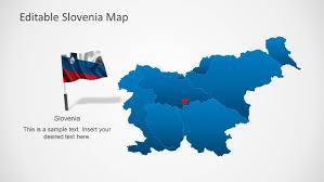 Flag Of Slovenia Editable Slovenia Map Template For Powerpoint Slidemodel