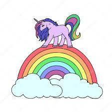 unicorn and rainbow on a white background unicorn vector