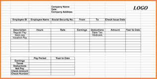 Check Stub Template For Excel 7 Pay Stub Template Excel Sles Of Paystubs