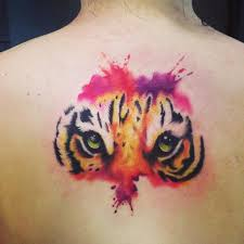 tiger on back with watercolors