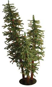 5 pre lit alpine artificial tree trio set