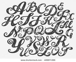 calligraphy alphabet typeset lettering hand drawn stock vector