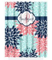 Navy And Coral Shower Curtain Navy Coral Aqua Floral Shower Curtain Flowers Custom Monogram