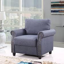 linen chair classic living room linen armchair with nailhead trim